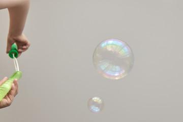 Photo of soap bubbles, creative background, selective focus