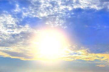 Beautiful sky with sun and cloud
