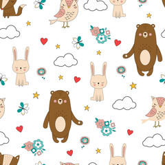 seamless forest animals background
