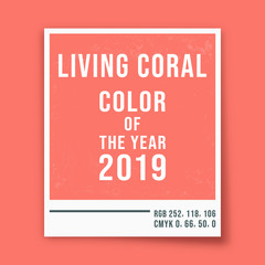 Living coral - color of the year 2019 - photo frame background