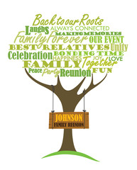 Family reunion design with word cloud element