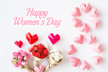 Happy International Women's Day celebrate on March 8, congratulatory CARD. rose-color paper hearts shape figure eight 8