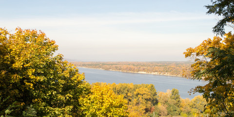 View of the Dnieper River in autumn, Kaniv, Ukraine, Tarasova Hill (Chernecha Hora)