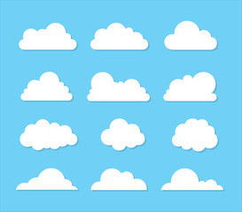 Cloud vector icon set on blue background.Creative modern concept - stock vector.