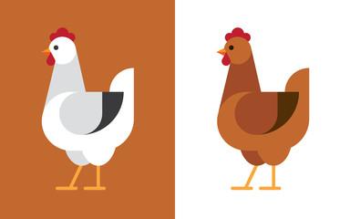 Fototapete - Hen flat icon.