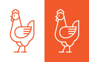 Wall Mural - Outline hen icon. Chicken linear logo.