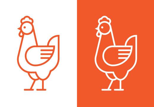 Outline hen icon. Chicken linear logo.
