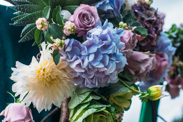 Natural flowers wedding decoration outdoors