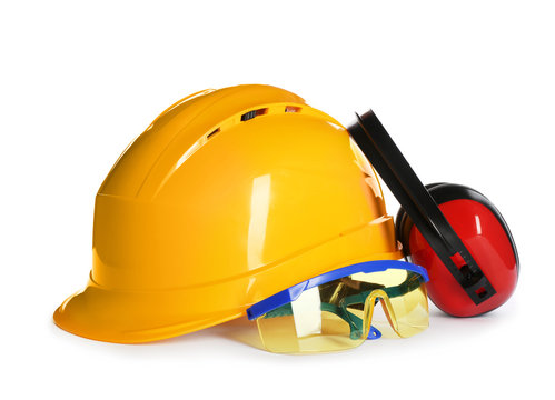 Set of safety equipment on white background