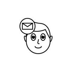 human face character mind in envelope icon
