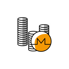 monero, cryptocurrency, coin, payment method icon. Element of color finance. Premium quality graphic design icon. Signs and symbols collection icon for websites