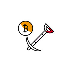 bitcoin, mining, cryptocurrency, finance icon. Element of color finance. Premium quality graphic design icon. Signs and symbols collection icon for websites
