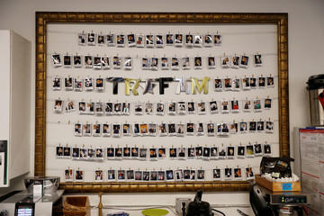 A collection of polaroids of the TaskRabbit staff and dogs are seen at the company's office in San Francisco, California