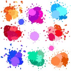 Paint, blots, splashes, drops, isolated watercolor stains in vector