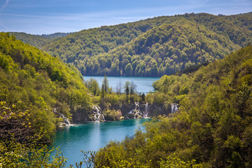 Green forests and cascading lakes with pure water, Plitvice Lakes National Park, Croatia