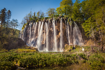 View of Veliki Prstavac Waterfall, the second highest waterfall in the park with a single drop near 28 meters, Plitvice Lakes National Park, Croatia