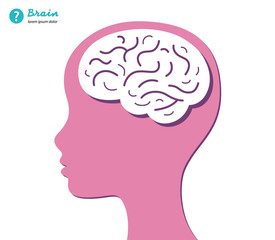 Woman head with brain, vector illustration.