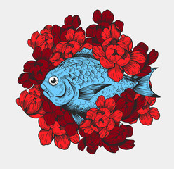 Fish with flowers. Vector illustration Great for t-shirt, print.