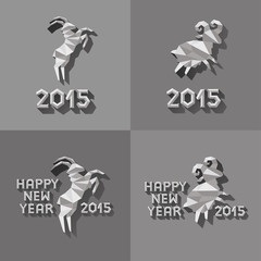 Polygonal golden ram sheep symbol of year illustration