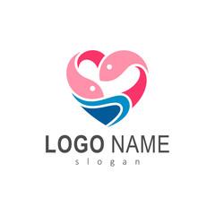 Love Fish Logo Design Template