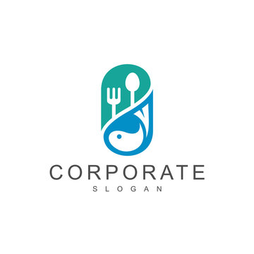 Pill Logo With Spoon, Fork And Fish, Fish Vitamin Logo, Seafood Logo
