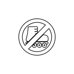 Roller blade, skates ban, forbiddance icon. Simple thin line, outline vector of Ban icons for UI and UX, website or mobile application