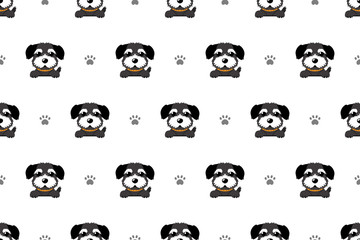 Vector cartoon character black norfolk terrier dog seamless pattern for design.