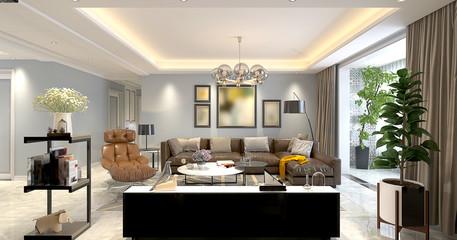 3d render home living room