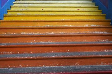 Escalier en dégradé jaune orange