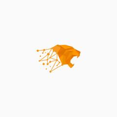 geometric logo digital tiger illustration vector template