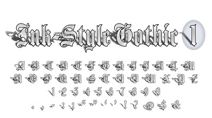 Ink-Style Gothic Font 1 of 2: Hand-Crafted Illustrated 50-Character Upper-Case Gothic Alphabet with Numbers and Symbols