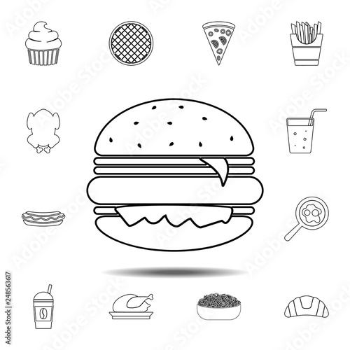 Burger Icon Simple Thin Line Outline Vector Element Of