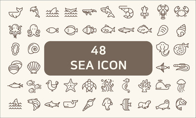 Set of 48 sea life and ocean Vector Icons. Contains such Icons as Nautical Creatures , sea food, sea, ocean, fish, coral, sea horse, seaweed, turtle And Other Elements.