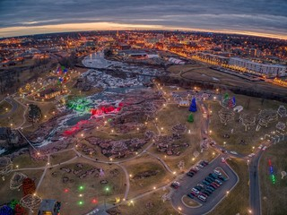 Christmas Light Display at Falls Park in Sioux Falls, South Dakota