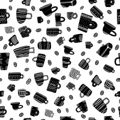 Seamless pattern of mugs with decoration. Vector illustration.