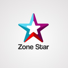 zone star logo vector, icon, element, and template