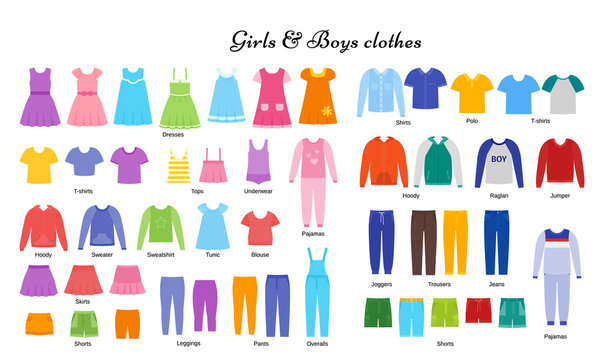 Baby clothes. Vector. Kid models. Children clothing set. Girl, boy cloth. Child garment. Apparel isolated on white, flat design. Cartoon illustration. Fashion icons. Frock sketches. Dress silhouette.
