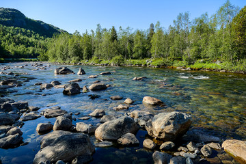 river in the mountains, in Sweden Scandinavia North Europe