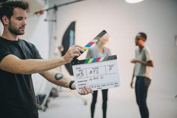 Behind the scenes with a clapper board