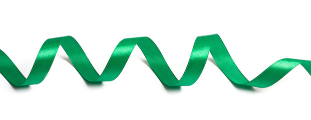 Delicate green wavy ribbon isolated on white background.