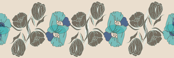 Vector illustration of stylized airy, abstract olive green, white, aqua and blue poppies and tulips with floating white, brown leaves on off white background. This warm, springtime vertical or