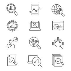 Data analysis line icons set. Black vector illustration. Editable stroke.