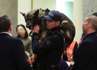 An RCMP carries a police service dog through a crowd during an event where Canada's Prime Minister Justin Trudeau was speaking in Vancouver,