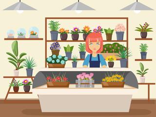 Obraz Flower shop interior green natural decorations woman florist seller cartoon design vector illustration - fototapety do salonu