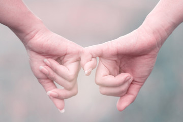 Two hands are hook each other's little finger in a field, Friendship Day