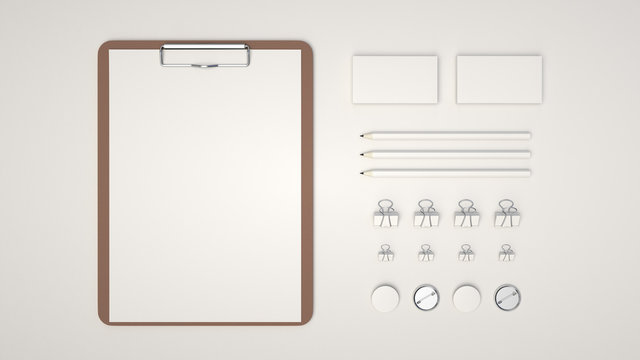 Clipboard, business cards, binder clips, badges and pencils