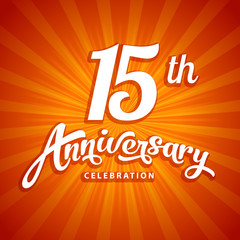 15th anniversary vector template for birthday, wedding or business greeting or invitation card