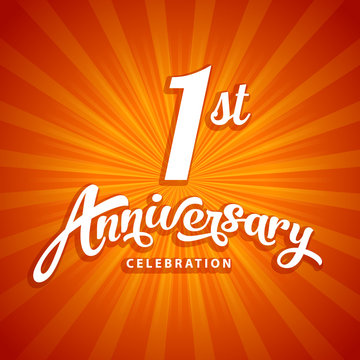 1st anniversary vector template for birthday, wedding or business greeting or invitation card