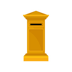 Bright yellow pillar postbox. Large metal public mailbox. Container for letters. Flat vector design