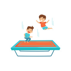 Two little boys jumping on trampoline. Kids having fun together. Active leisure. Cartoon characters. Flat vector design